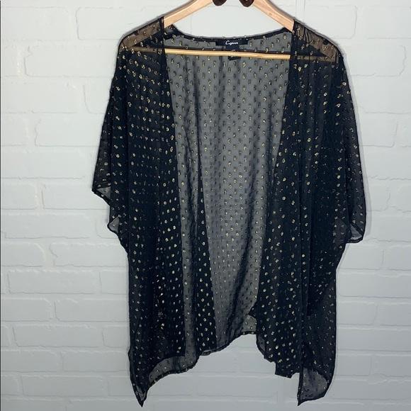 Cejon NWOT sheer black gold dot duster kimono
